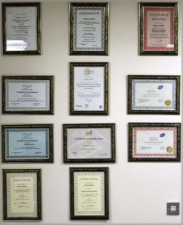 Andreas certificates on wall