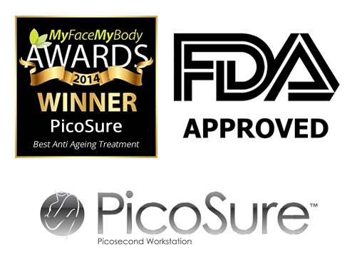 award, fda and picosure logos