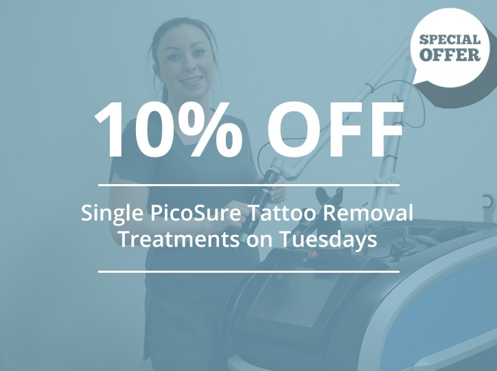 10 percent off single pico tattoo removal treatments on tuesdays